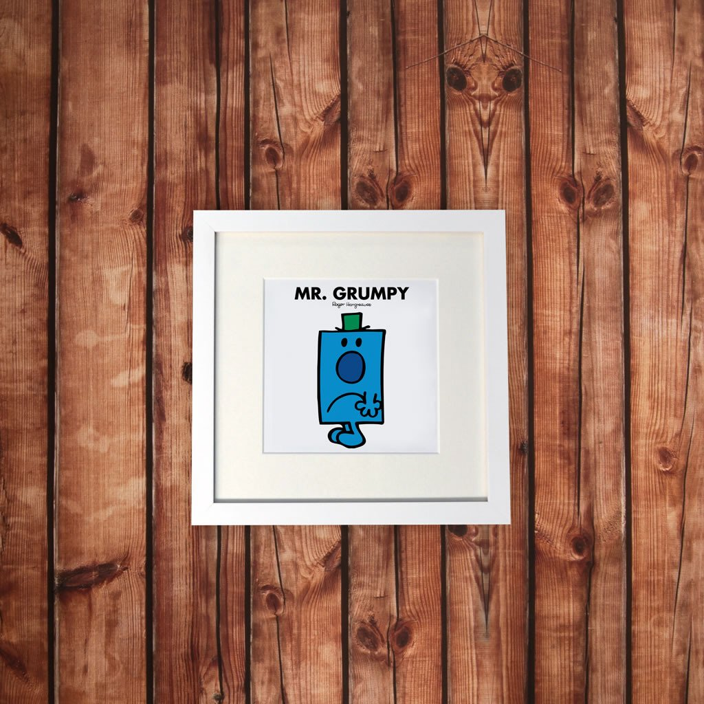 Mr. Grumpy White Framed Print (Lifestyle)