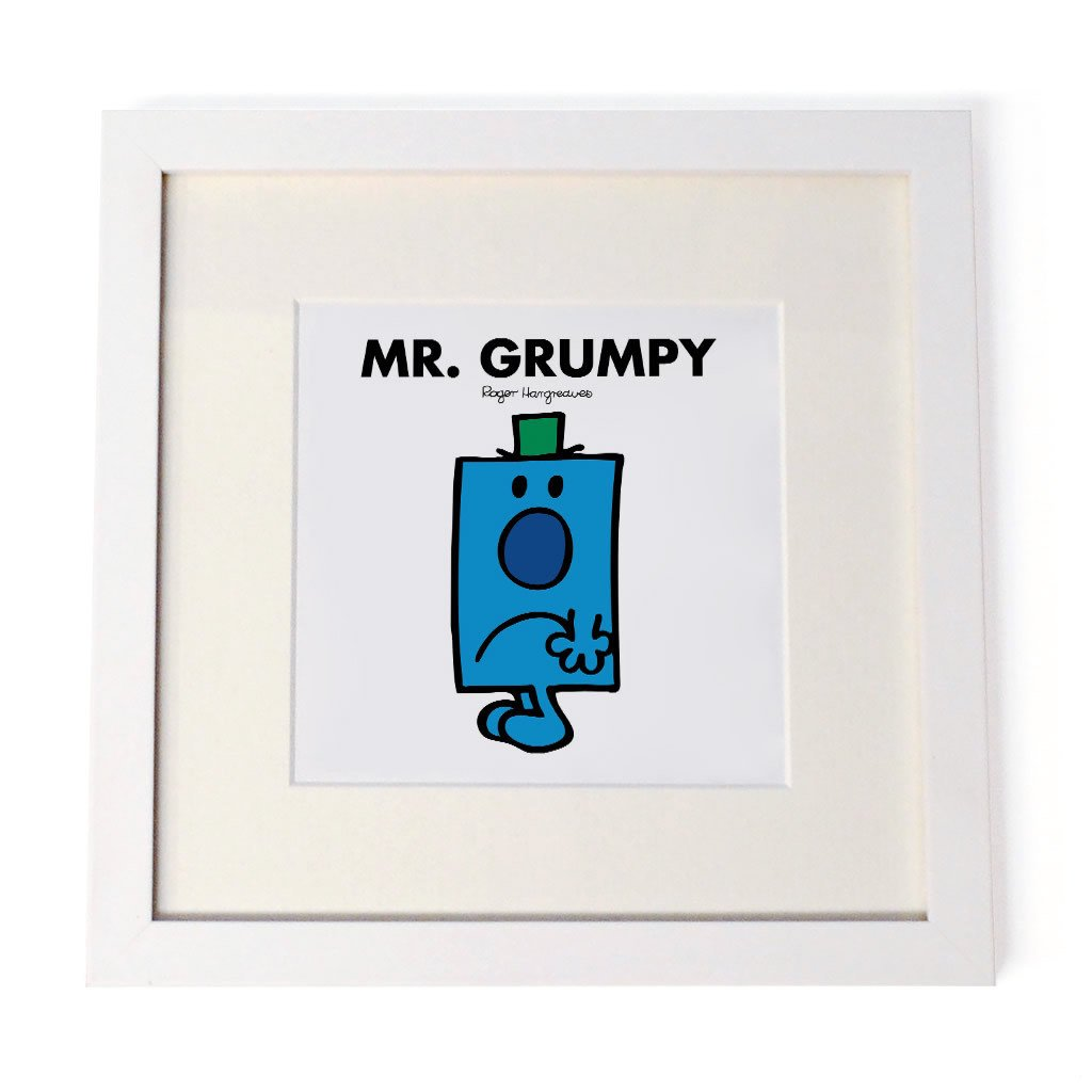 Mr. Grumpy White Framed Print
