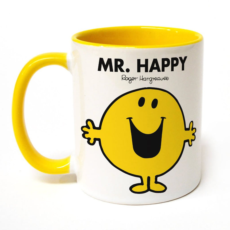 Mr. Happy Large Porcelain Colour Handle Mug