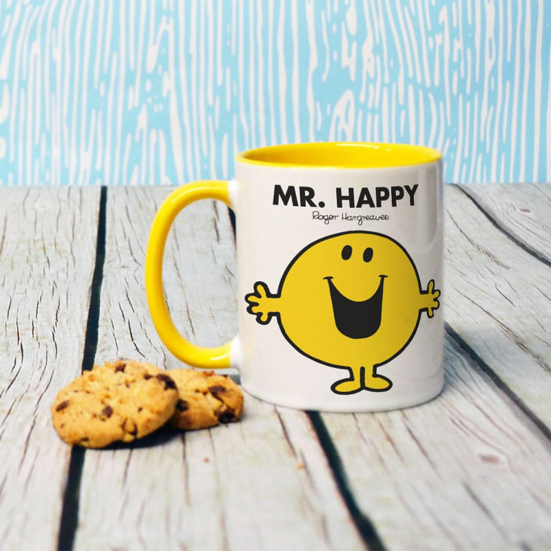 Mr. Happy Large Porcelain Colour Handle Mug (Lifestyle)