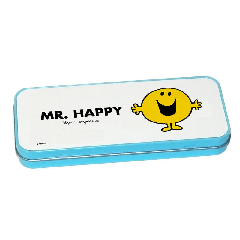 Mr. Happy Pencil Case Tin (Blue)
