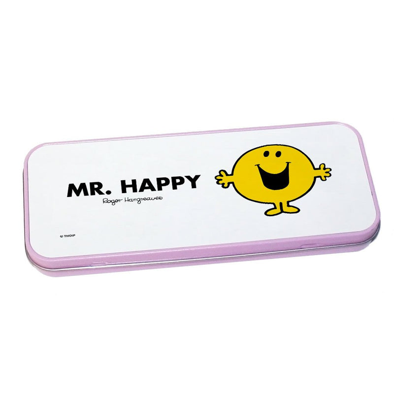 Mr. Happy Pencil Case Tin (Pink)