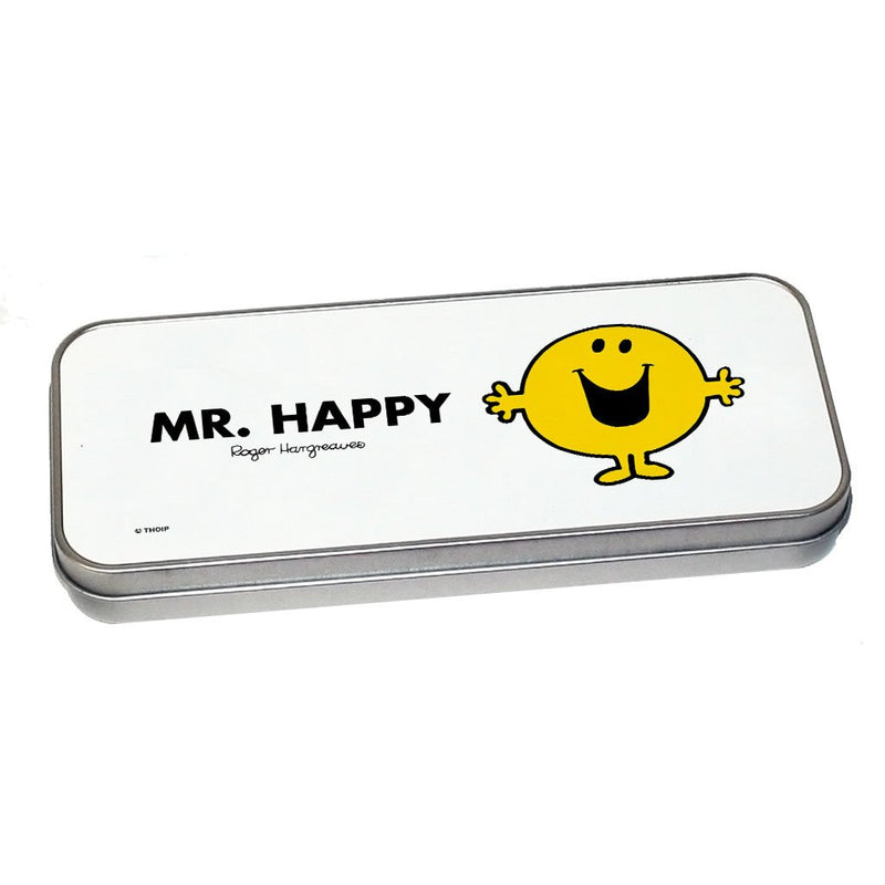 Mr. Happy Pencil Case Tin (Silver)