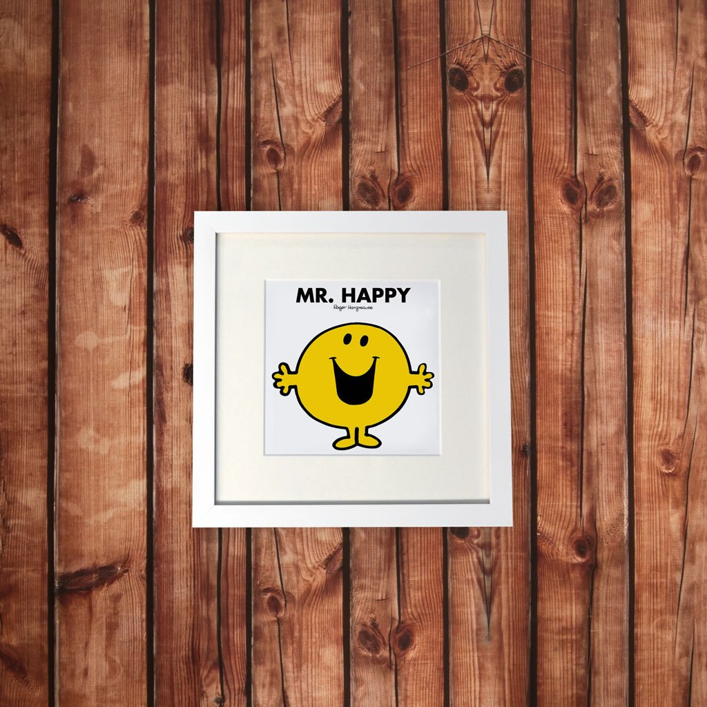 Mr. Happy White Framed Print (Lifestyle)