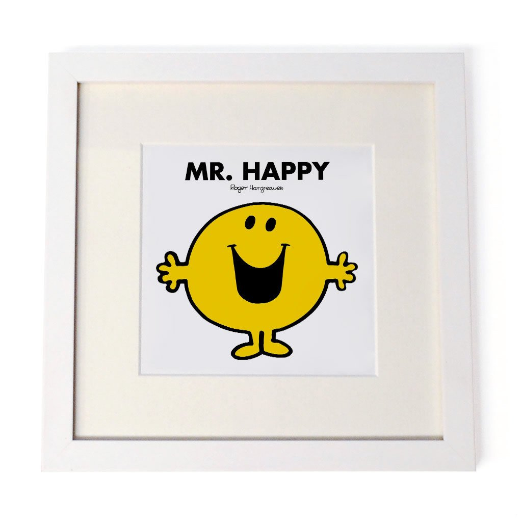Mr. Happy White Framed Print