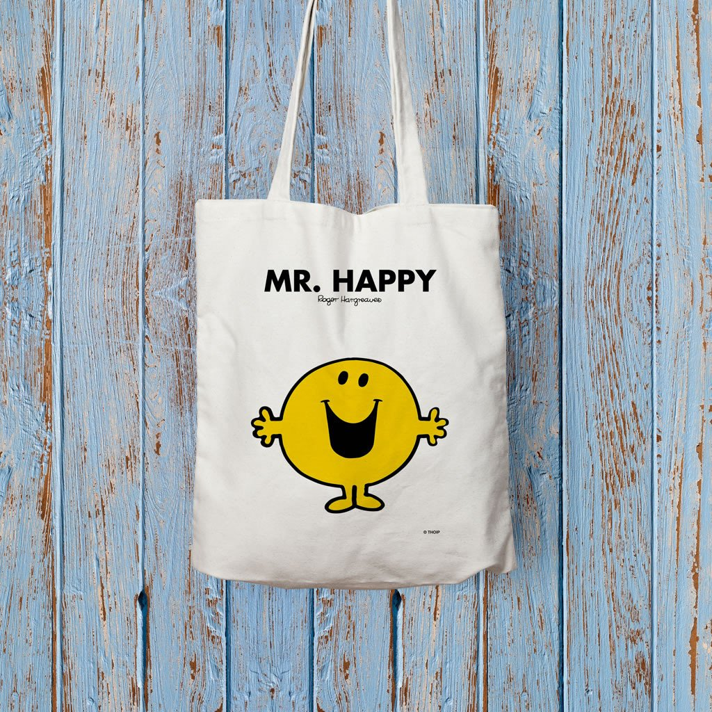 Mr. Happy Long Handled Tote Bag (Lifestyle)