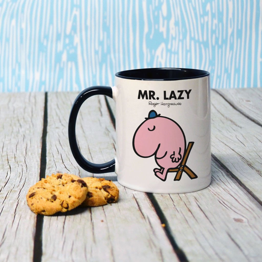 Mr. Lazy Large Porcelain Colour Handle Mug (Lifestyle)