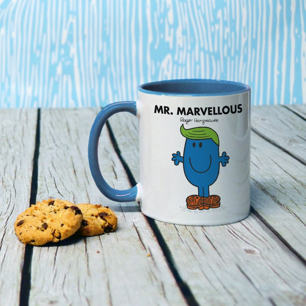 Mr. Marvellous Large Porcelain Colour Handle Mug (Lifestyle)