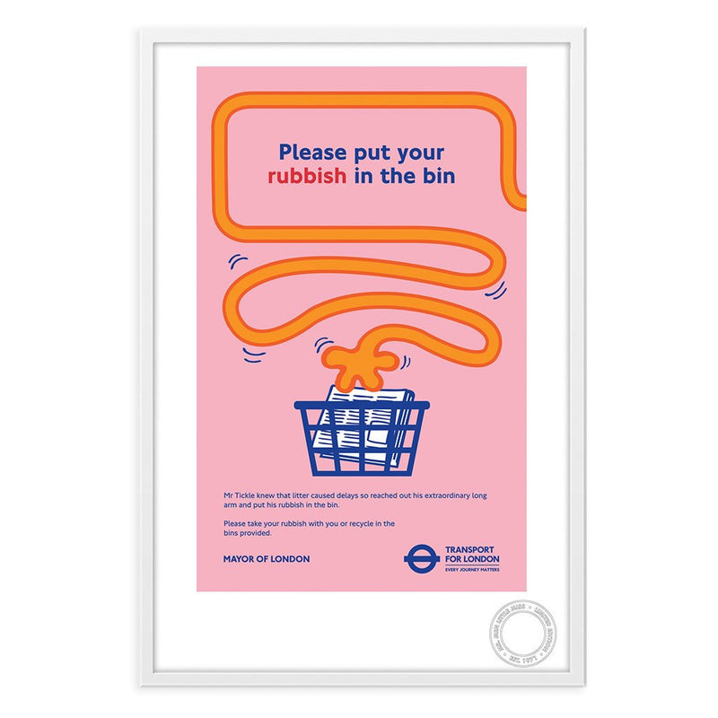 Mr. Tickle Rubbish TFL White Framed Print