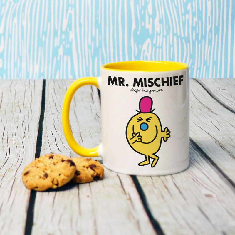 Mr. Mischief Large Porcelain Colour Handle Mug (Lifestyle)