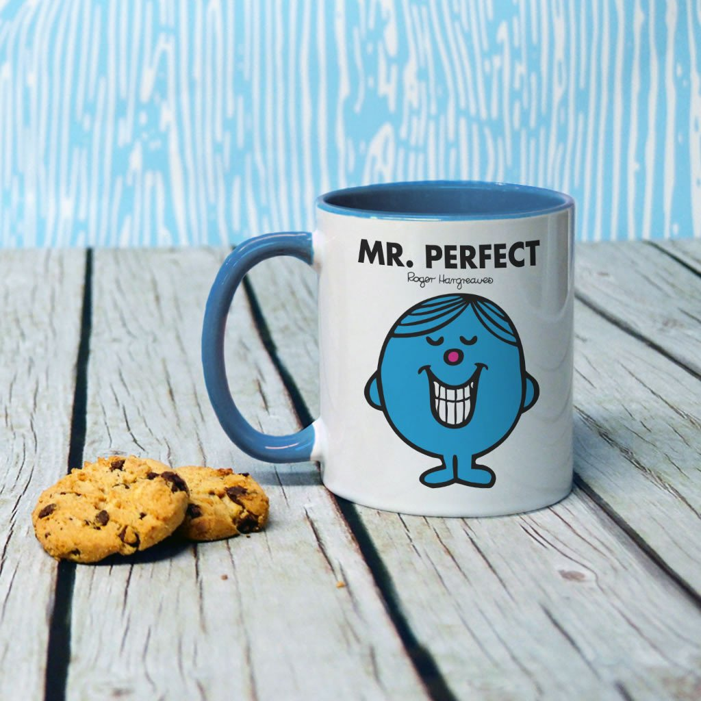 Mr. Perfect Large Porcelain Colour Handle Mug (Lifestyle)