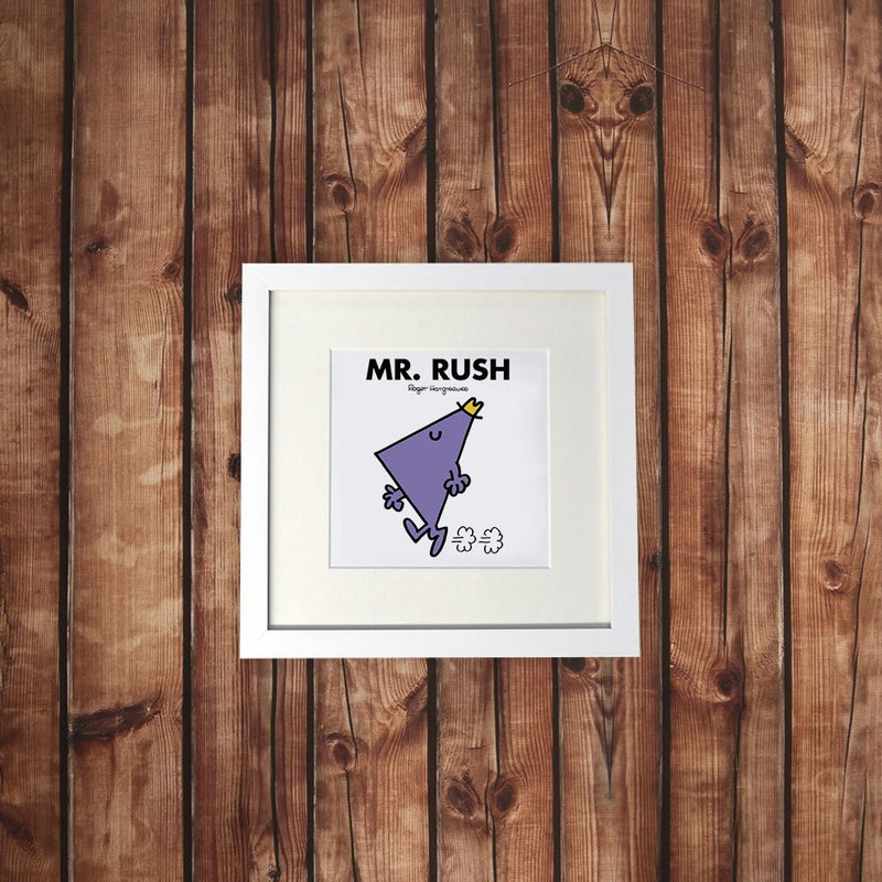 Mr. Rush White Framed Print (Lifestyle)