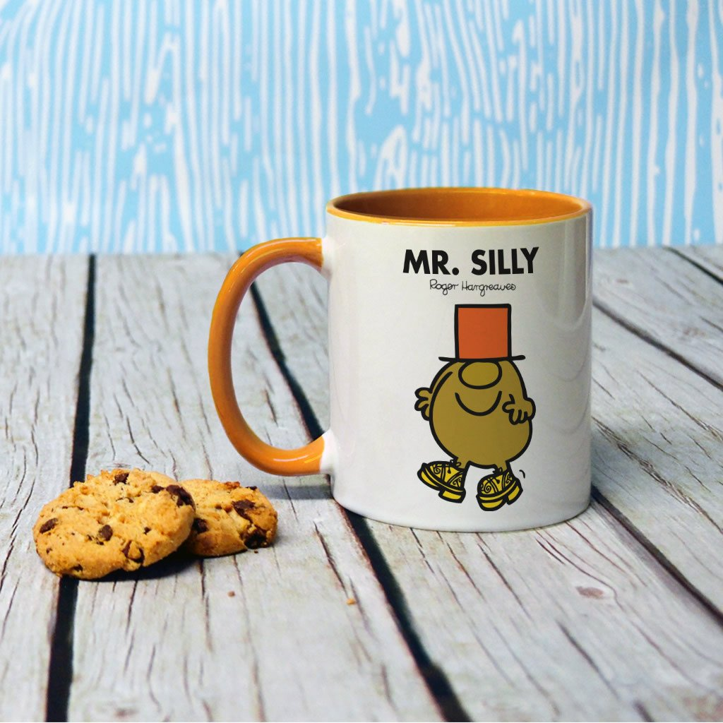 Mr. Silly Large Porcelain Colour Handle Mug (Lifestyle)