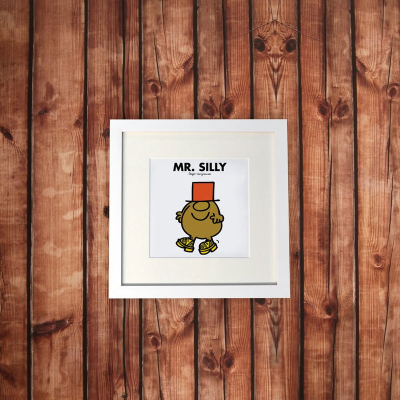 Mr. Silly White Framed Print (Lifestyle)