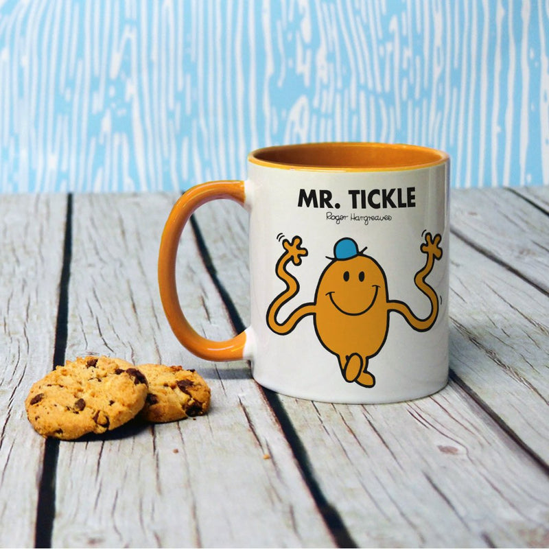 Mr. Tickle Large Porcelain Colour Handle Mug (Lifestyle)