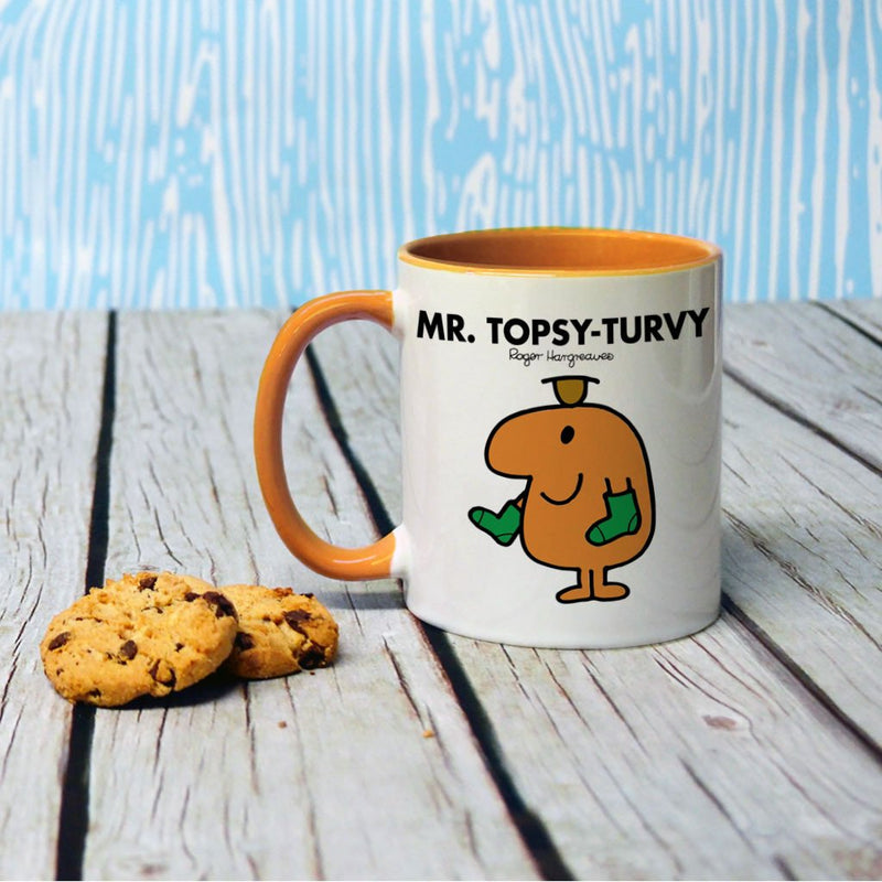 Mr. Topsy-turvy Large Porcelain Colour Handle Mug (Lifestyle)