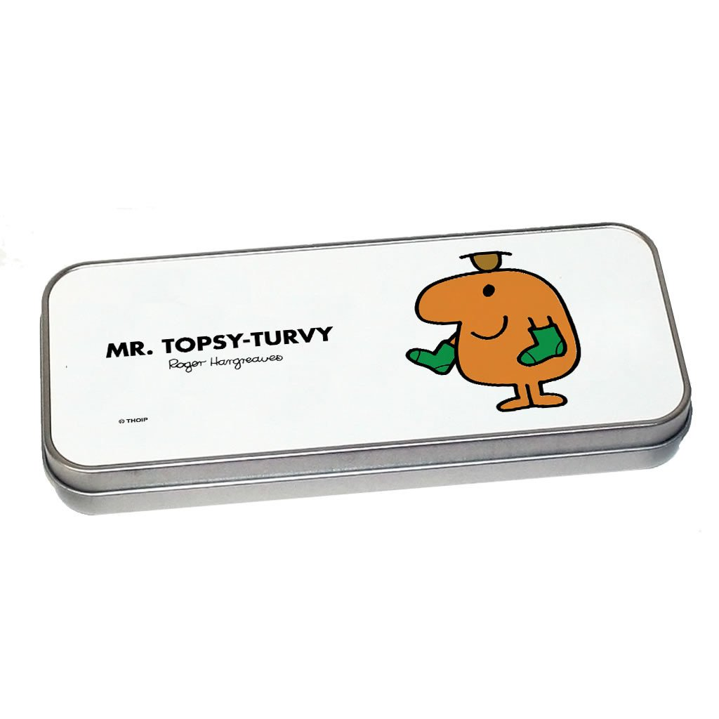 Mr. Topsy-turvy Pencil Case Tin (Silver)