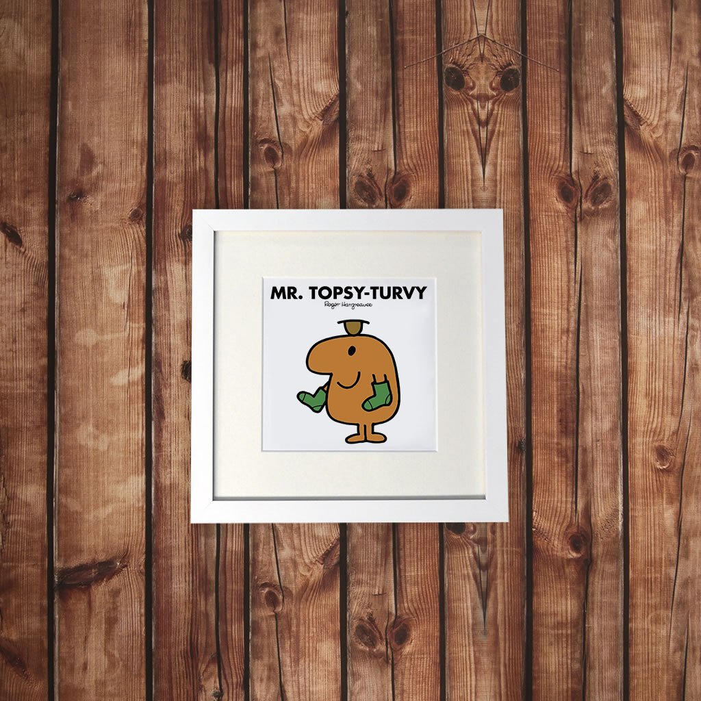 Mr. Topsy-turvy White Framed Print (Lifestyle)