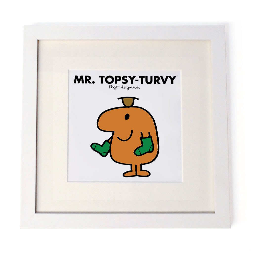 Mr. Topsy-turvy White Framed Print