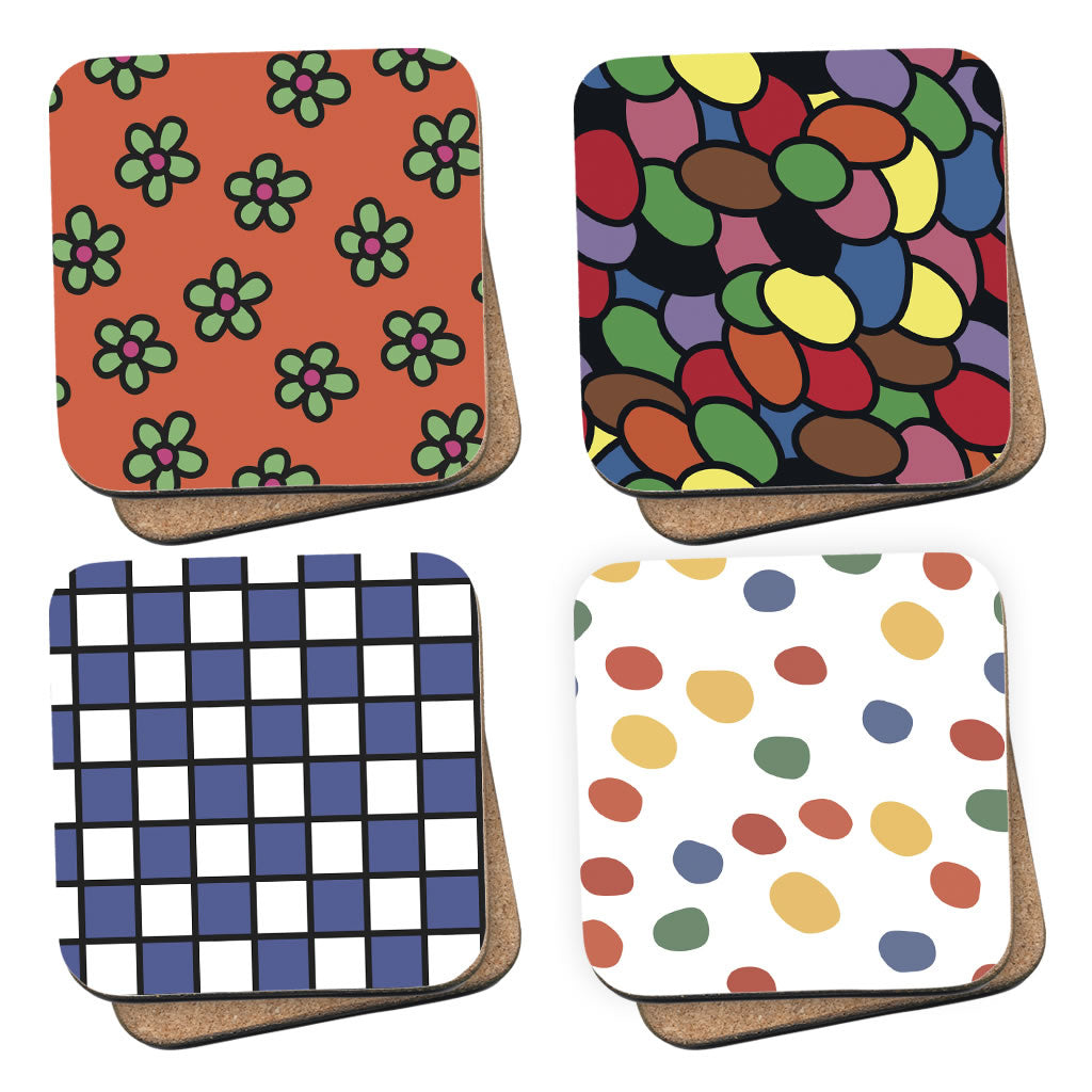 Retro Mr. Men 70's Patterns Coasters 4 Pack