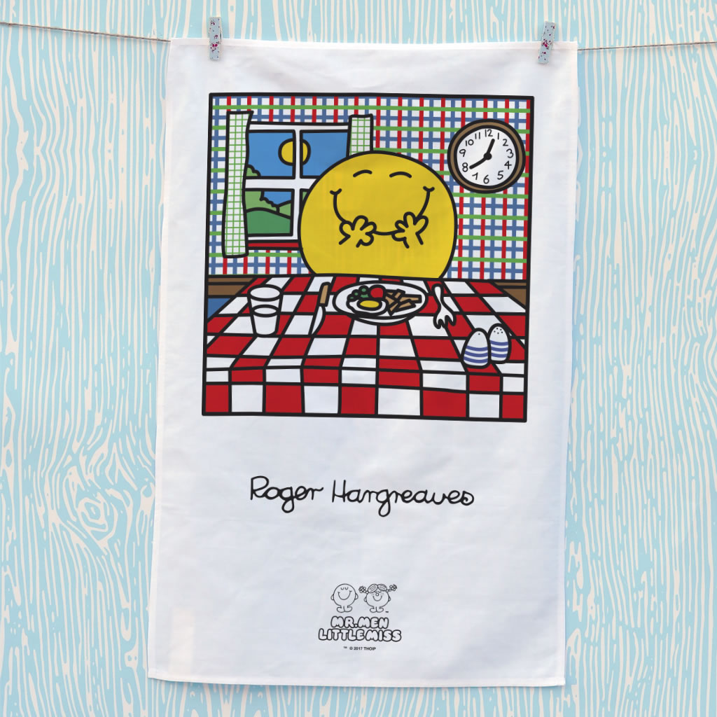 Mr. Happy Has His Dinner Tea Towel