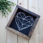 Geometric Heart Wood Sign