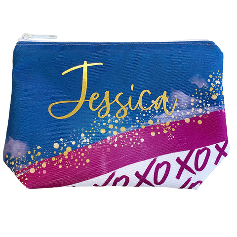 Burgundy, Navy, & Gold Personalized XO Cosmetic Bag