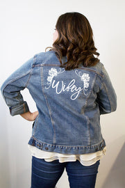 Wifey Denim Jacket in White Glitter