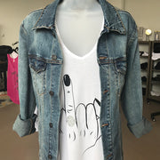 Bridal Denim Jacket front With Ring Finger Tank