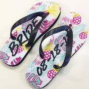 Tropical Print Bridal Flip Flops in Mint, Pink, Yellow and Black