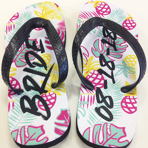 Custom Tropical Print Bridal Party Flip Flops in Mint, Pink, Yellow and Black