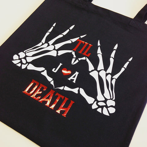 Personalized Til Death Skeleton tote bag