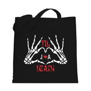 Personalized Til Death Skeleton Heart Tote Bag for newlywed or bride to be