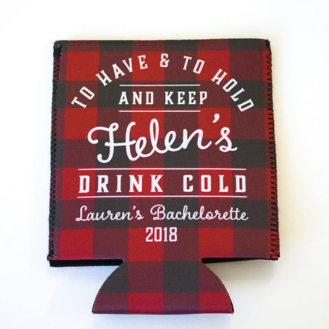 Custom Printed Buffalo Plaid Can Coolers for Bachelorette Parties, Couples Parties and Weddings