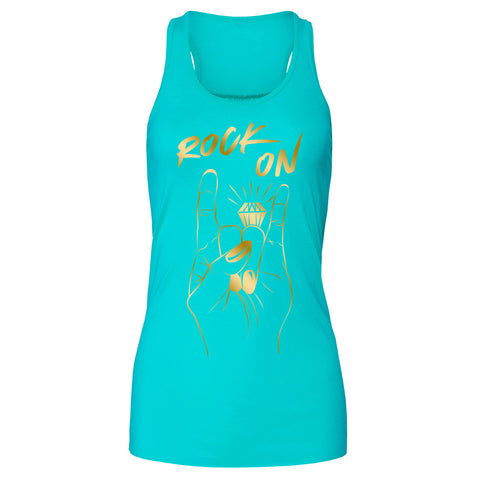 Rock On Engagement Ring Racerback Tank Top