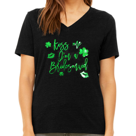 Kiss Me I'm a Bridesmaid Bridal Party St. Patrick's Day Bachelorette Party Shirt in Black and Metallic Green