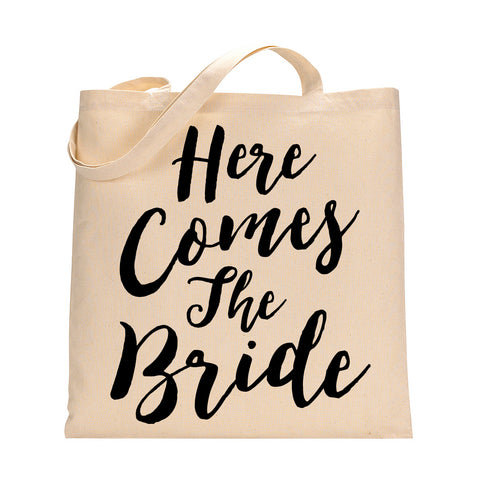 Here Comes The Bride Tote Bag in Black