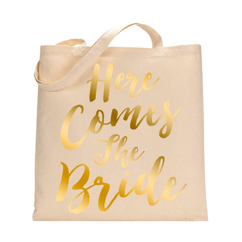 Here Comes The Bride Tote Bag in Metallic Gold