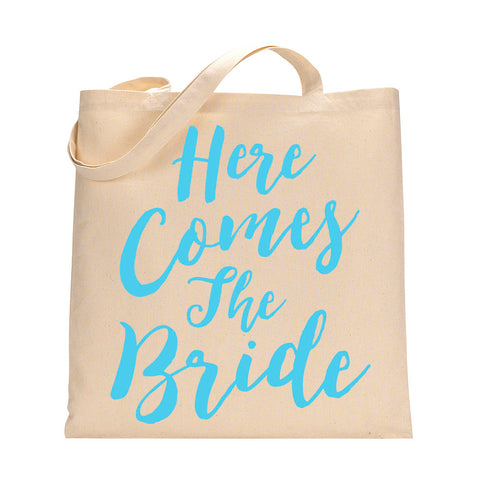 Here Comes The Bride Tote Bag in Light Blue
