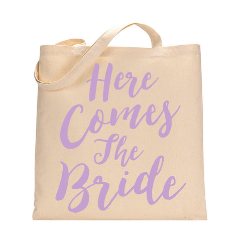 Here Comes The Bride Tote Bag in Lilac