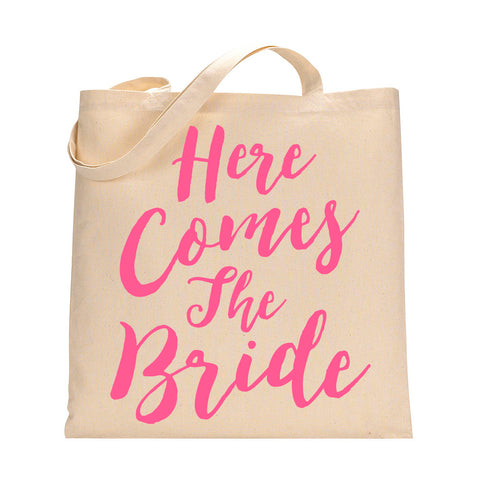 Here Comes The Bride Tote Bag in Medium Pink