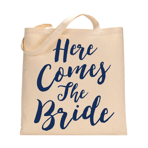 Here Comes The Bride Tote Bag in Navy Blue