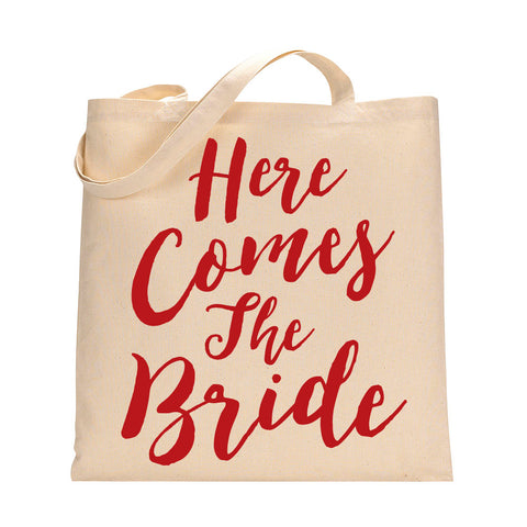 Here Comes The Bride Tote Bag in Red