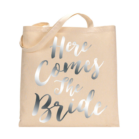 Here Comes The Bride Tote Bag in Metallic Silver