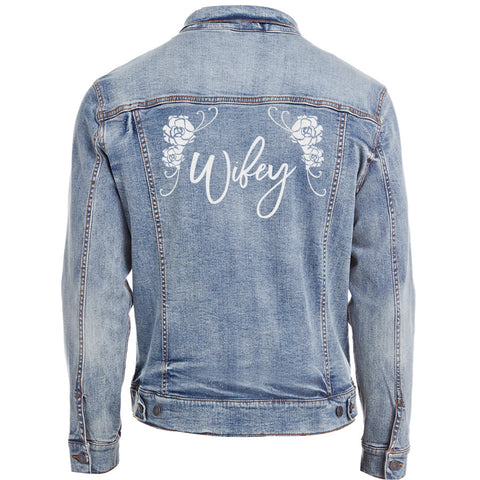 Bridal Denim Jacket with Wifey across the Back