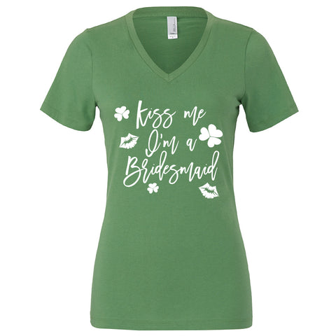 Kiss Me I'm a Bridesmaid Bridal Party St. Patrick's Day Bachelorette Party Shirt in Green and White
