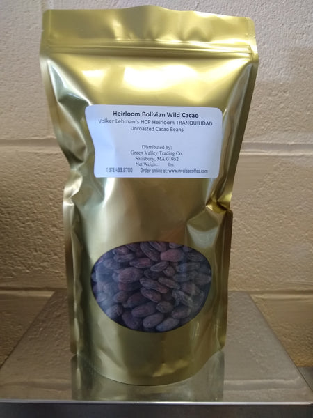 Bolivian Heirloom Volker Lehman TRANQUILIDAD (HCP #2) Unroasted Cacao Beans. NEW ARRIVAL!