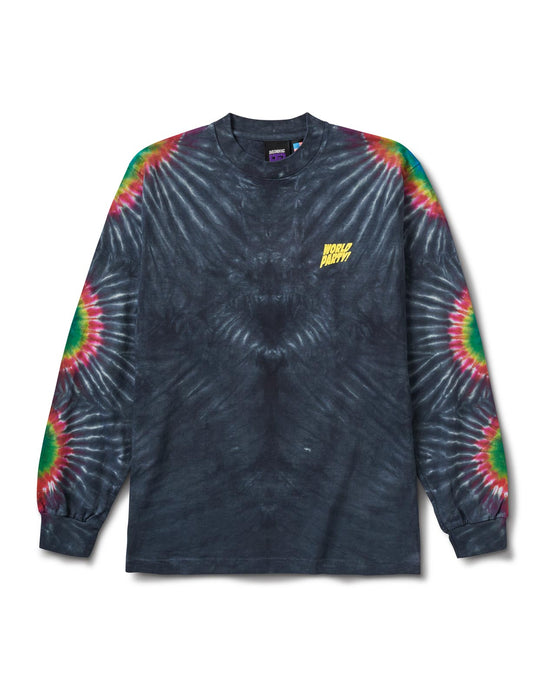 World Sunburst Tie Dye L/S Tee Gray