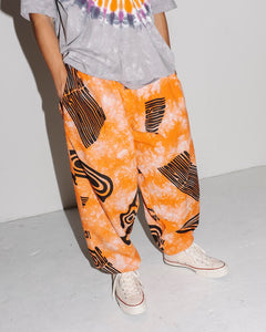 Vertigo Eye Warp Tie Dye Pant Orange