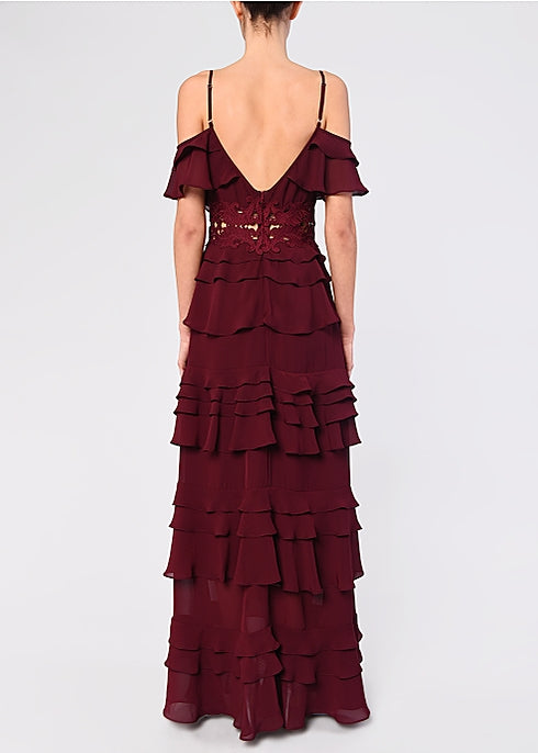 Load image into Gallery viewer, Burgundy Plunge Front Tiered Ruffle Maxi Dres